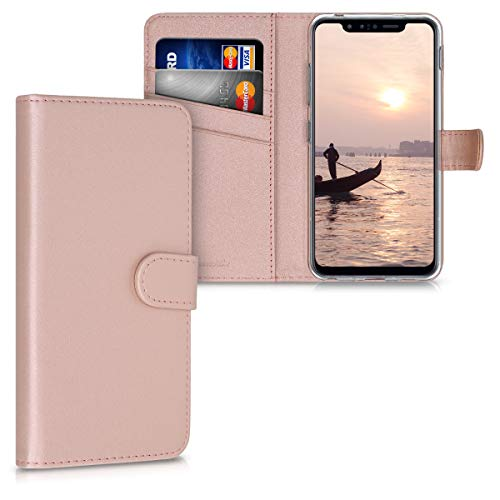 kwmobile Hülle kompatibel mit LG G8s ThinQ - Kunstleder Wallet Hülle mit Kartenfächern Stand in Rosegold