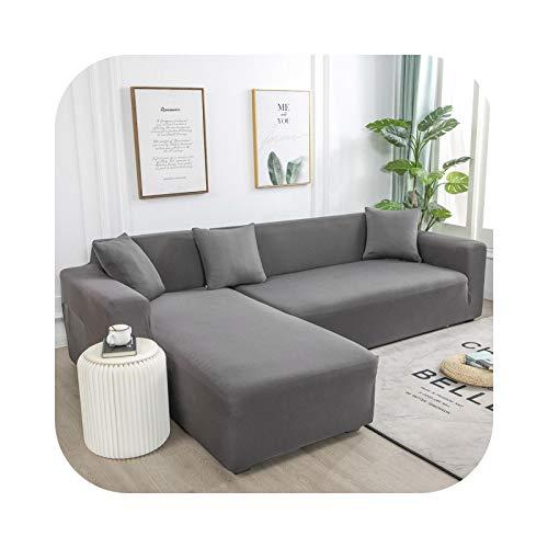 Funda de sofá L, funda de sofá esquinera, para salón, elástica, elastano, cobertura elástica y spandex, compra 2 unidades – Grey-1 unidad 2 plazas – 145 – 185 cm