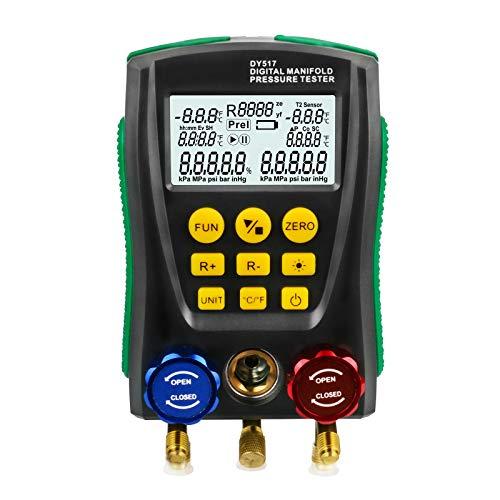 BELEY Koelkast Digitale Manifold HVAC System Gauge, Hoge precisie Vacuüm Druktemperatuur Lekkage Tester Dignostische Meter voor het testen en onderhouden Air-conditioner, Koelkast