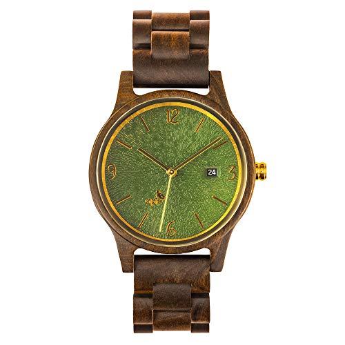 Opis UR-U1: Unisex (Damen/Herren) Retro Holz Armbanduhr aus Schwarzem Sandelholz mit einzigartigem, geprägten Ziffernblatt in Grün mit goldenen Metallelementen
