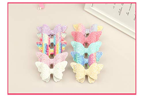 XIMA 10pcs Glitter Hair Bows Clips For Kids Girls Butterfly Hair Pin Accessoires Sparkly Bows Clips 6