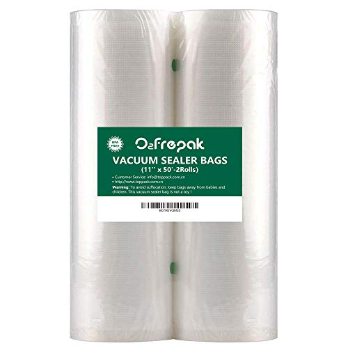 O2frepak 2Pack (Total 100Feet) 11x50 Rolls Food Saver Vacuum Sealer Bags Rolls with BPA Free,Heavy Duty Vacuum Sealer Storage Bags Rolls for Food Saver,Cut to Size Roll,Great for Sous Vide