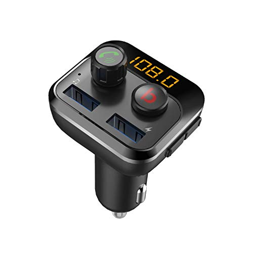 Bluetooth FM Transmitter, LED Auto Radio Bluetooth Adapter Freisprecheinrichtung mit Mikrofon, mit Bass, Dual USB Ladegerät (Silber)