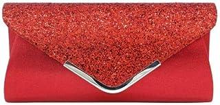 1104c87cb8 Aimer Pochette Enveloppe Sac de Soirée Pailleté Brillant Style Besace Rouge  pour Femme