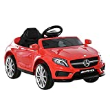 HOMCOM Compatible Kids Children Ride On Car Mercedes Benz GLA Licensed 6V Battery Rechargeable Headlight Music Remote Control High/Low Speed Toy Red