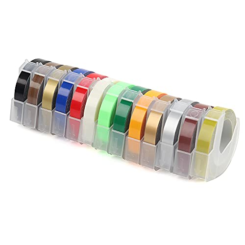 Komake Cinta de repujado compatible como repuesto para Dymo, 13 colores, etiquetas de plástico 3D para máquina de grabado Dymo Omega Junior (13 rollos, 9 mm x 3 m)
