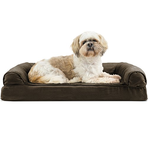 Furhaven Pet Dog Bed - Orthopedic Ultra Plush Faux Fur and Suede Traditional Sofa-Style Living Room Couch Pet Bed with Removable Cover for Dogs and Cats, Espresso, Medium