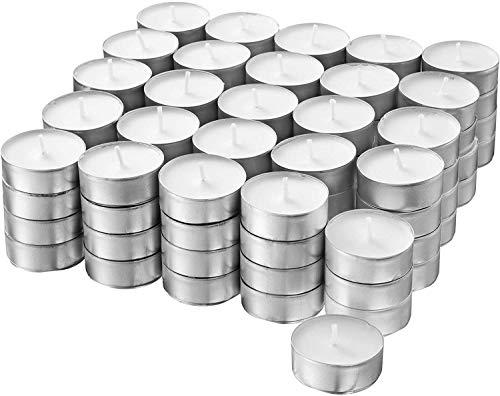 S&S-Shop 200 Teelichter ca. 6 h Brenndauer | Weiß | unbeduftet | Ø 38 mm | Teelichte | Kerzen