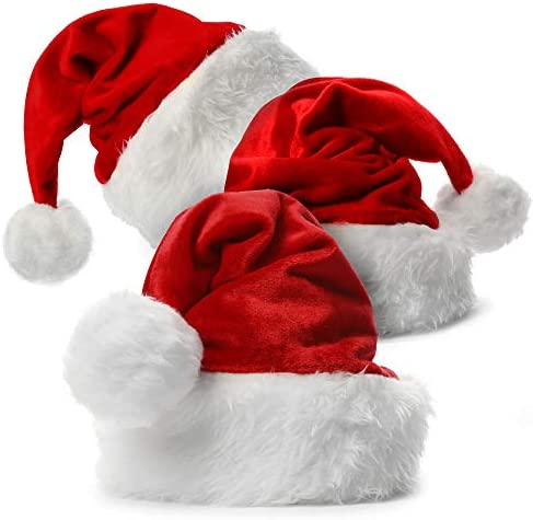 Santa Claus Hat for Christmas Adults 3 Pack Custom Unisex Hats for Adult Kids Toddler Women product image