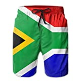 Jiger Flag of South Africa Mens Swim Trunks Quick Dry Summer Surf Beach Board Shorts PantsM