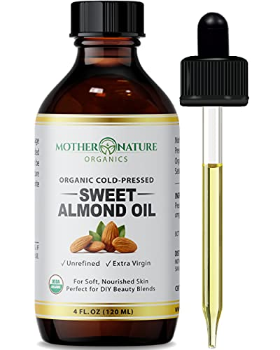Organic Sweet Almond Oil - Extra Virgin & Cold-Pressed Almond Oil for Skin, Body & Hair (4 Oz) - Powerful Moisturizer for Scars, Nails, Hair Growth, Wrinkles & Dark Spots - Non-GMO & Cruelty-Free