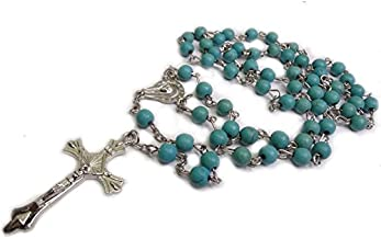 Ytbeauti Unique Turquoise Beads Rosary Blue Catholic Necklace Holy Soil Medal & Cross