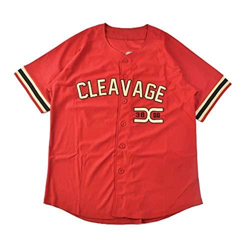 Al Bundy Cleavage Men's Button Down Movie Baseball Jersey (Red, L)
