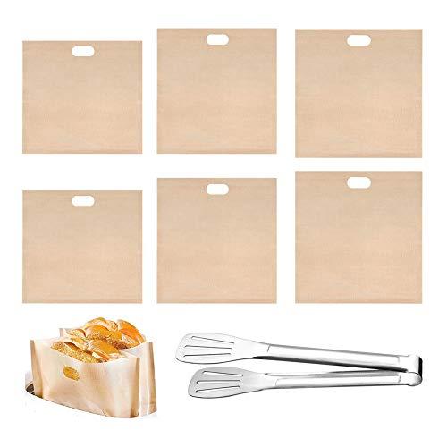 SwirlColor Toaster Bags, Bolsillos Reutilizables para Tostadora Bolsas para Aprobado por La FDA Antiadherente Resistente al Calor en 3 Tamaños Diferentes 6 Piezas, con Pinza para Alimentos 1 Pieza
