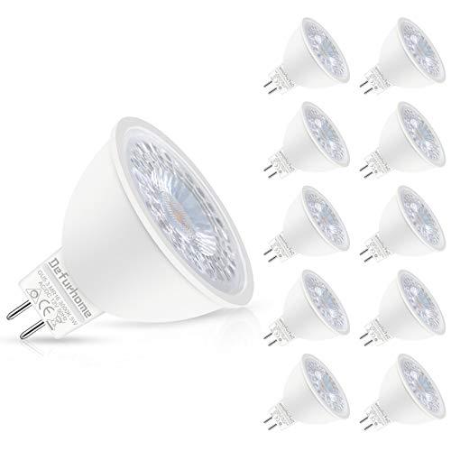 Defurhome MR16 GU5.3 LED Lampe, 5W Ersatz für 50W Halogenlampen, 450LM, 3000K Warmweiß,AC/DC 12V, mit GU5.3-Sockel,LED Spot, LED-Reflektorlampe, LED Leuchtmittel, Nicht Dimmbar,10 Stück
