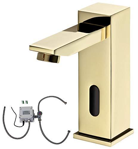 Sanlingo - Infrarotsensor-Waschtischmischer, Temperaturregler, Batterieversorgung, langer Auslauf,  Gold