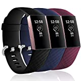 KOLEK Bands Compatible with Fitbit Charge 4 / Fitbit Charge 3 / Charge 3 SE, Waterproof Replacement Sports Watch Strap Wristbands for Women Men, Small, Black/Navy Blue/Wind Red