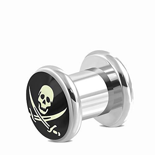Tata Gisèle - Dilatador de orejas, diseño de calavera pirata, acero quirúrgico 316L, 6 mm