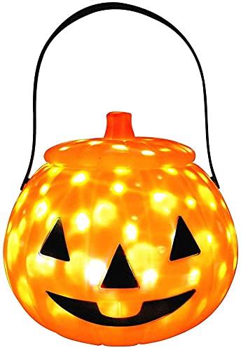 Ghlevo Linterna de calabaza Cubo de calabaza portátil Decoración de Halloween Linterna de calabaza con música Tarro de caramelo de calabaza para Decoraciones de Halloween Actividades de la fiesta de l