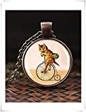 Katze auf Fahrrad Halskette, Katze Hipster Fahrrad Anhänger, Vintage Antik Fahrrad, Katzenliebhaber Fahrrad Liebhaber Geschenk, Retro Vintage Kitty Anhänger, ein schönes Geschenk