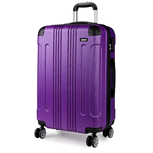Kono 24 Inch Hard Shell Luggage Lightweight ABS 4 Wheels Spinner Business Trip Trolley Case Suitcase (Purple 24')