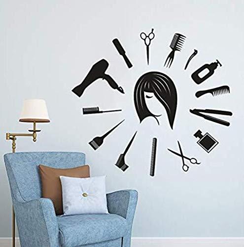 Etiqueta De La Pared De Papel Tapiz De Pvc Etiqueta De La Pared Estilista Del Cabello Mural Del Reloj Forma Del Reloj Peluquería Salón De Belleza Decoración 62X57Cm