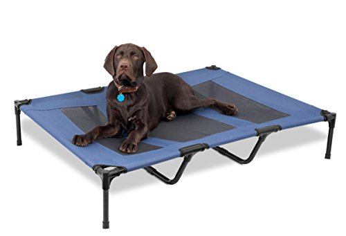 Internet's Best Dog Cot - 48 x 36 - Elevated Dog Bed - Cool Breathable Mesh - Indoor or Outdoor Use - Raised Lifted Platform- Keeps Your Dog Cool - Large - Blue