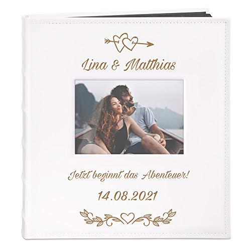 Murrano Fotoalbum zum Selbstgestalten mit Bildausschnitt + mit Gravur - für 240 Fotos im Format 10x15 - 60 schwarze Seiten - Größe 33x30cm - Weiß - Geschenk zur Hochzeit zum Hochzeitstag - Abenteuer