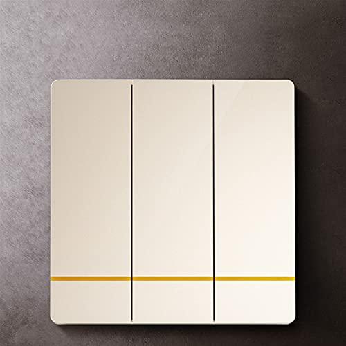 Ploutne 3C Certified Simple Switch, interruptor de la lámpara de pared 2-Gang 1-Way Switter Electric Light Switch, alta intensidad, interruptor de luz que no se deforma fácilmente durante la instalaci