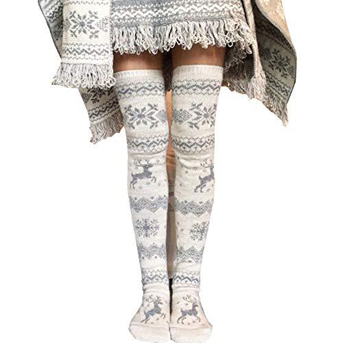 Mujeres Niñas Muslo Hasta la rodilla Medias largas Calcetines Calcetines de pierna gruesa Calentador (Color: Blanco + Gris, Tamaño: 40-50cm)