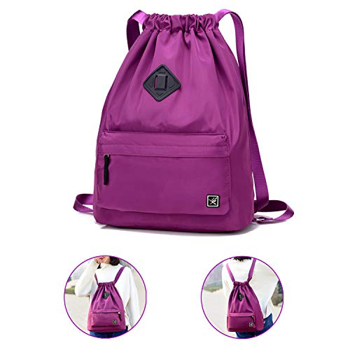 Waterproof Drawstring Bag, Gym Bag Sackpack Sports Backpack for Men Women Girls