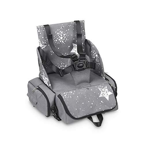 Innovaciones MS 1332 - Booster Bag Stars - Trona De Viaje Portátil, Asiento De Bebés Blando Y Acolchado, Portátil. Convertible En Mochila 2 En 1, Unisex, gris