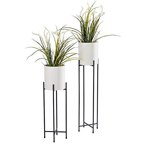 Spetebo Metall Blumentopfständer 2er Set - schwarz Ständer mit weißen Töpfen - 74 und 58 cm - Blumentopfhalter mit Topf - Planzenständer rund