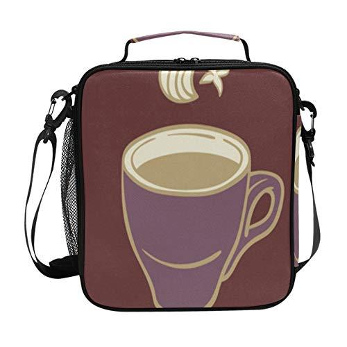 Bolsa de almuerzo para niña Taza de bebida caliente con café Fiambrera Neveras con correa ajustable para el hombro y múltiples bolsillos Fiambreras para adolescentes
