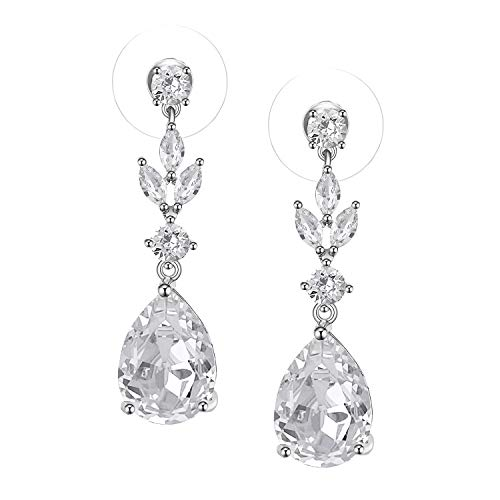 SWEETV Wedding Pendientes de circonio cúbico para mujeres, novias, damas de honor - Pendientes colgantes de diamantes de imitación de cristal de lágrima, plata