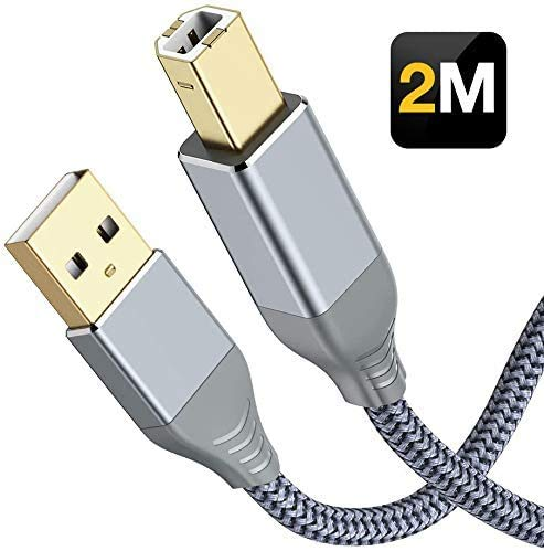 Cable Impresora USB 2.0, Snowkids Cable USB Impresora 2m Tipo A macho a B macho Alta Velocidad, Cable USB 2.0 Nylon Cable Escáner Impresora para HP, Canon, Epson, Dell, Brother, Lexmark, Xerox