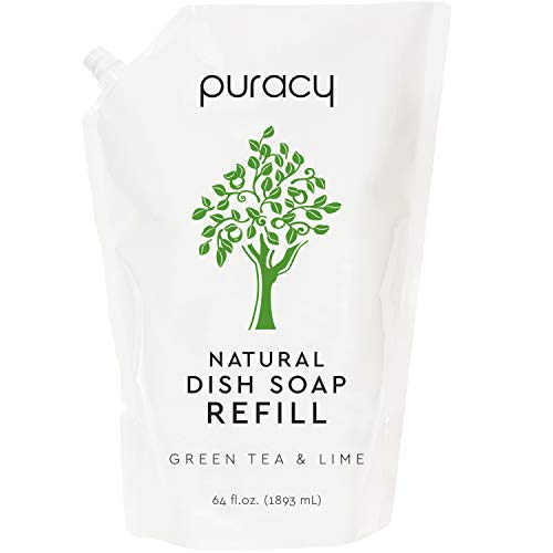 Puracy Dish Soap Refill, Green Tea & Lime, 64 Ounce, Sulfate-Free, Natural Liquid Detergent