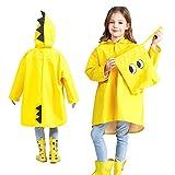 Impermeable niño unisex capa de lluvia Ponchos chicos niñas abrigo impermeable con capucha y visera ligero portátil Raincoat para escuela senderismo Camping viaje 2 – 6 años