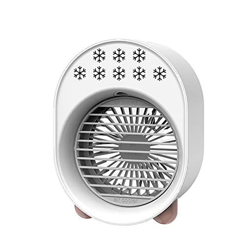 Moares - Dispositivo di raffreddamento ad aria portatile, mini ventilatore USB, umidificatore per casa, ufficio, stanza da scrivania, aria condizionata, purificatore per interni bianco