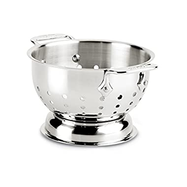 All-Clad 56015 Stainless Steel Dishwasher Safe Colander Kitchen Accessorie, 1.5-Quart, Silver