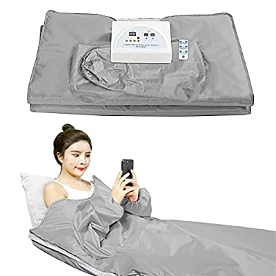 Cosy Casa FIR Far Infrared Sauna Blanket with 2 Zone Controller Professional Detox Therapy Anti Ageing Beauty Machine Body Fitness Machine(Silver-Gray)