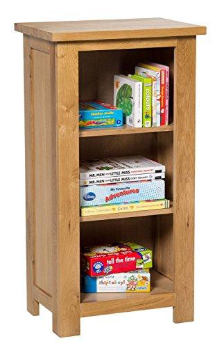 Solid Oak Slim Small Compact Bookcase Bookshelves Cd
