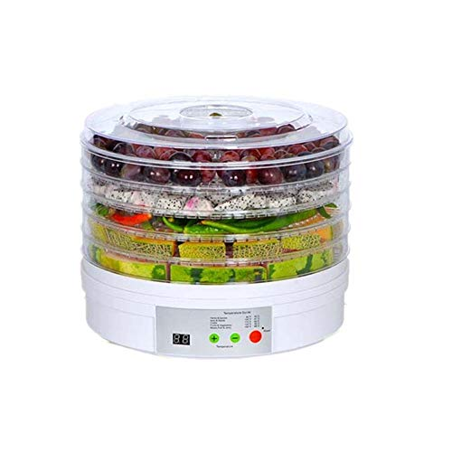 FXQIN Food Dryer Machine Dörrautomat trocknet Obst, Gemüse, Kräuter, Fleisch und mehr, 5 stapelbare Ebenen Obst Trockner, Dörrgerät mit Temperaturregler 35-70 Celsius