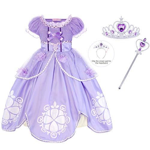 Jurebecia Las niñas se Visten Princesa Traje de Sofia Vestidos de Fiesta para niños Outfit Childs Vestido de Cosplay de cumpleaños de Halloween con Accesorios