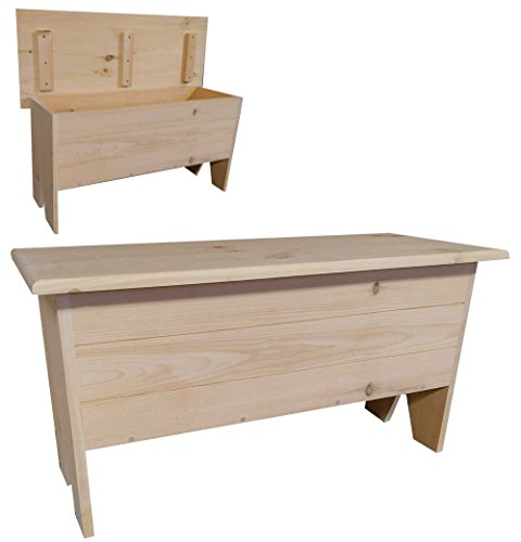 Sawdust City Wooden Storage Bench 3' Long (Unfinished Pine)