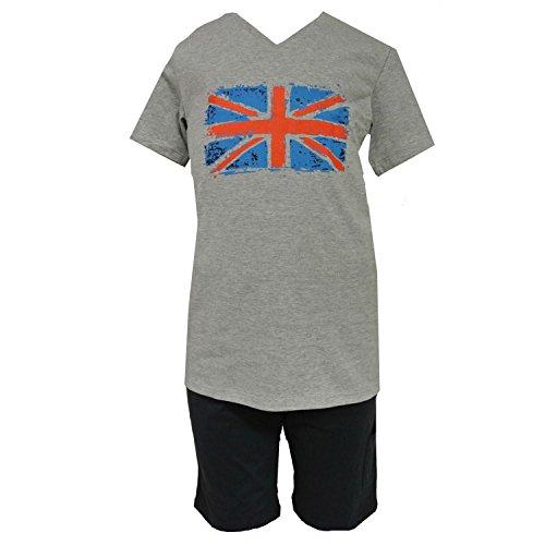Schiesser - Jungen Schlafanzug kurzer Pyjama Englandfahne, Grau, Größe 140