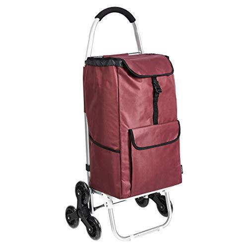 AmazonBasics – Einkaufstrolley mit 6 Rollen und Aluminium-Griffen, 50 l, rot