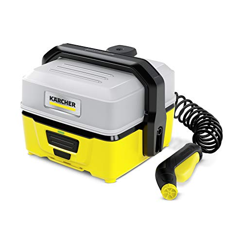 Kärcher Mobile Outdoor Cleaner OC 3 (Wassertankvolumen: 4 l, Lithium-Ionen-Akku, abnehmbarer Wassertank, schonender Niederdruck, Spiralschlauch 2,8 m, Akkulauftzeit 15 min)