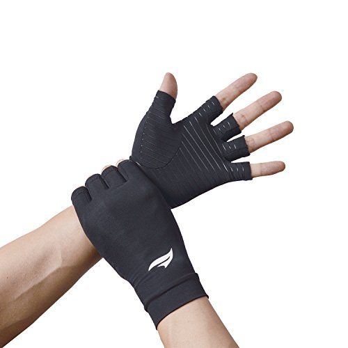 BANILLUE Copper Balance Compression Arthritis Gloves – Guaranteed Copper Infused Fit Fingerless Glove to Speed Up Recovery & Relieve Symptoms of Arthritis, RSI, Tendonitis & More – 1 Pair(X-Large)