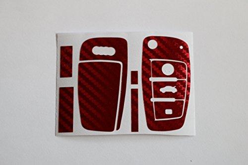 Jeu de films Carbone/rouge brossé Pour boîtier de clé de véhicule Audi TT A1 8J A6 A3 8P A4 4 F Q7, S3/S4 B7, etc.